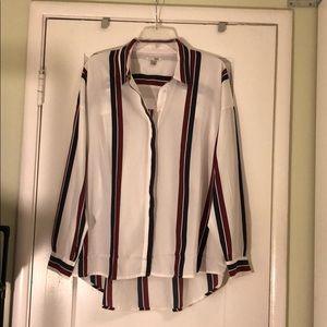 Amuse Society White Striped Button Down Shirt